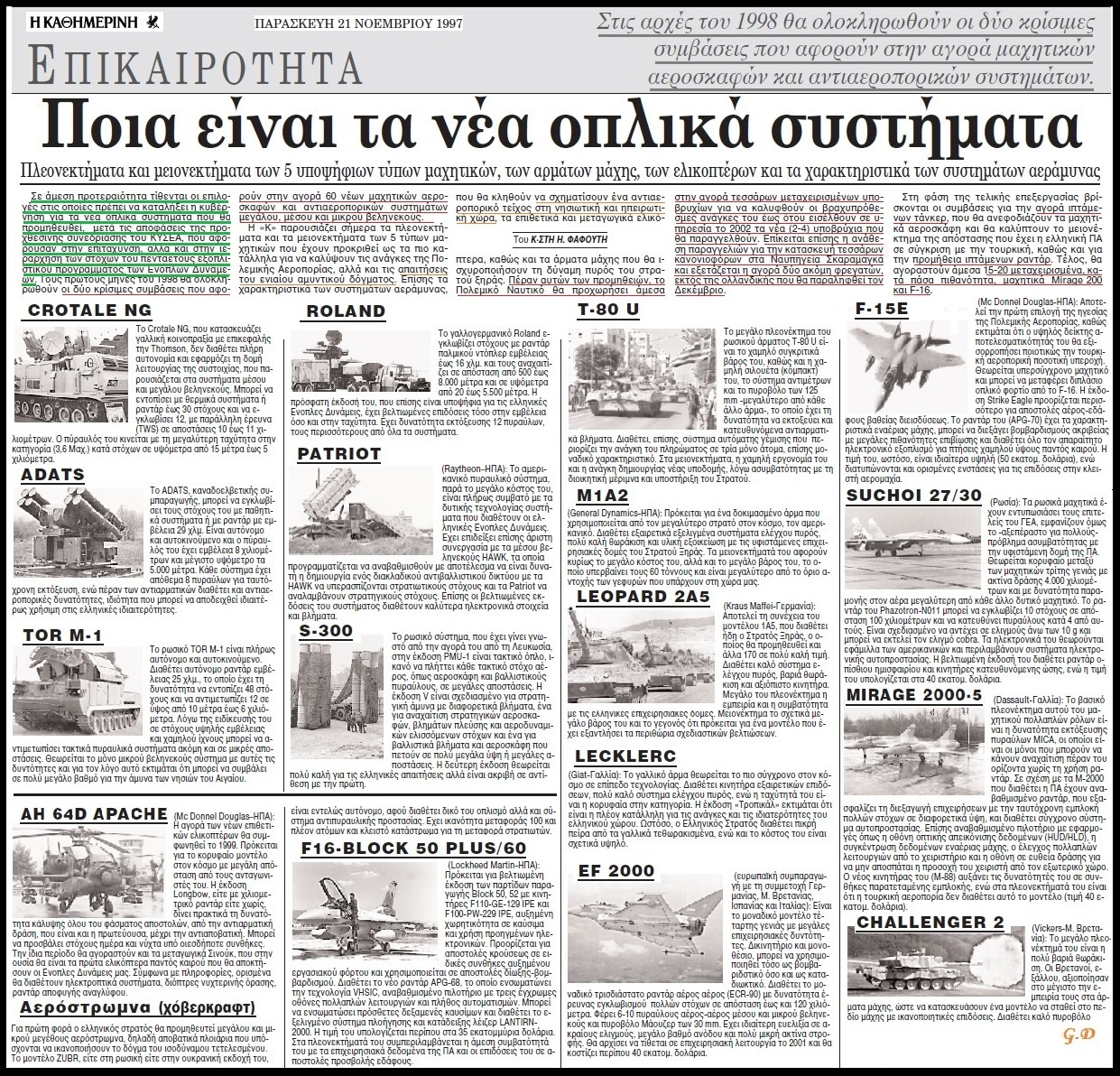 ΑΓΟΡΑ ΕΞΟΠΛΙΣΜΟΥ 1997