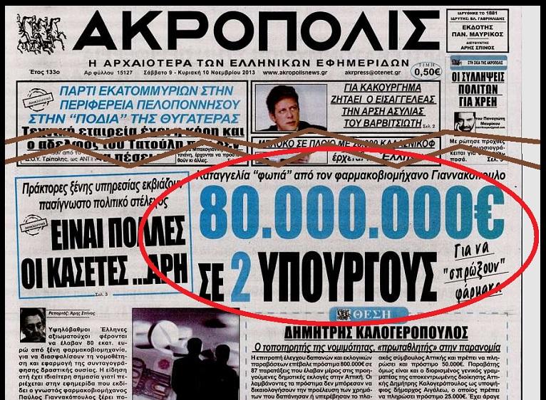 ΑΚΡΟΠΟΛΙΣ -80 ΕΚΑΤ ΜΙΖΕΣ ΣΕ ΥΠΟΥΡΓΟΥΣ ΓΙΑ ΦΑΡΜΑΚΑ