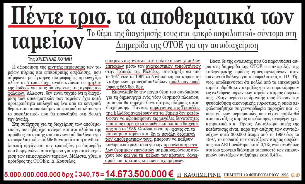 ΑΣΦΑΛΙΣΤΙΚΑ ΤΑΜΕΙΑ - ΑΠΟΘΕΜΑΤΙΚΑ 1998