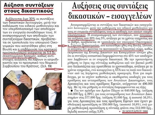 ΑΥΞΗΣΕΙΣ ΣΕ ΔΙΚΑΣΤΙΚΟΥΣ 1998