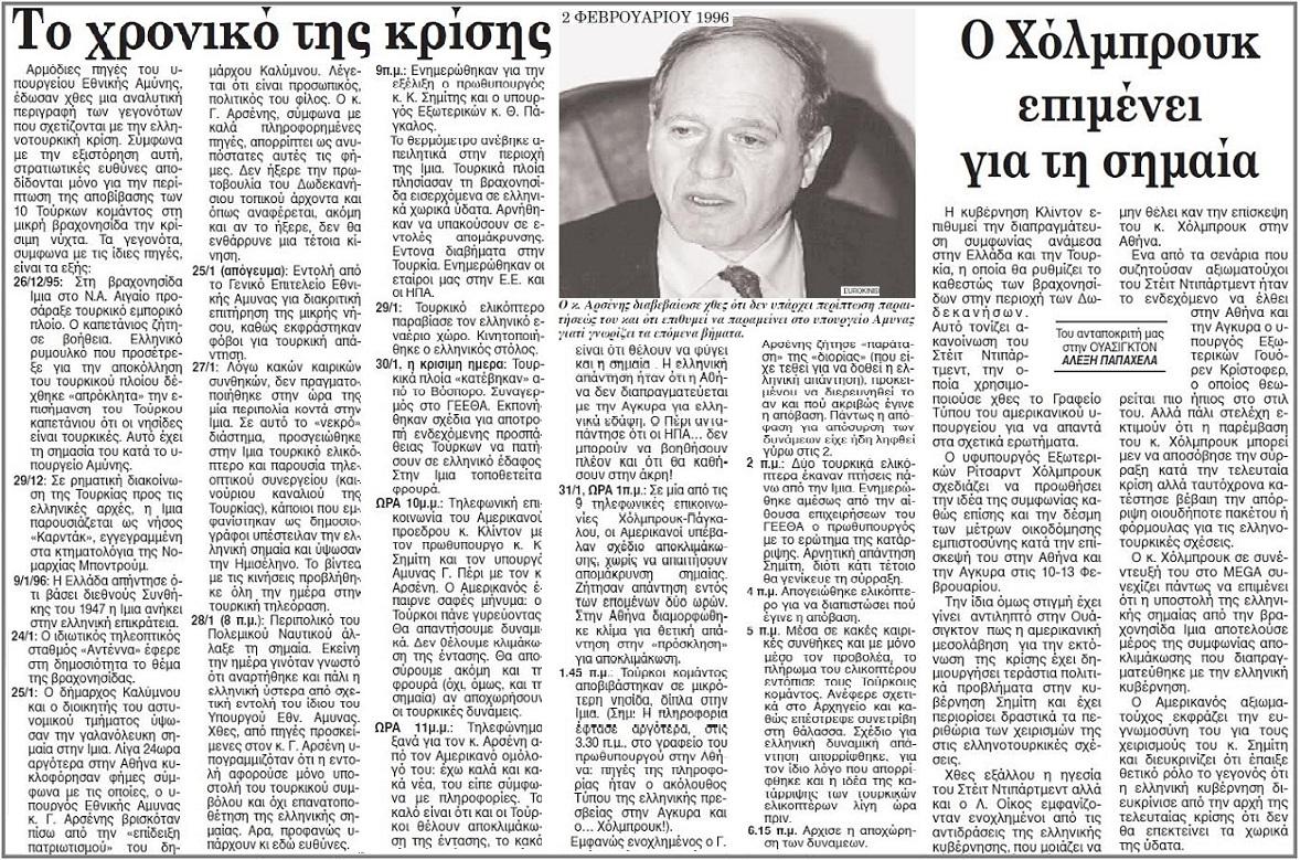 ΙΜΙΑ 1996 -ΤΟ ΧΡΟΝΙΚΟ ΤΗΣ ΚΡΙΣΗΣ