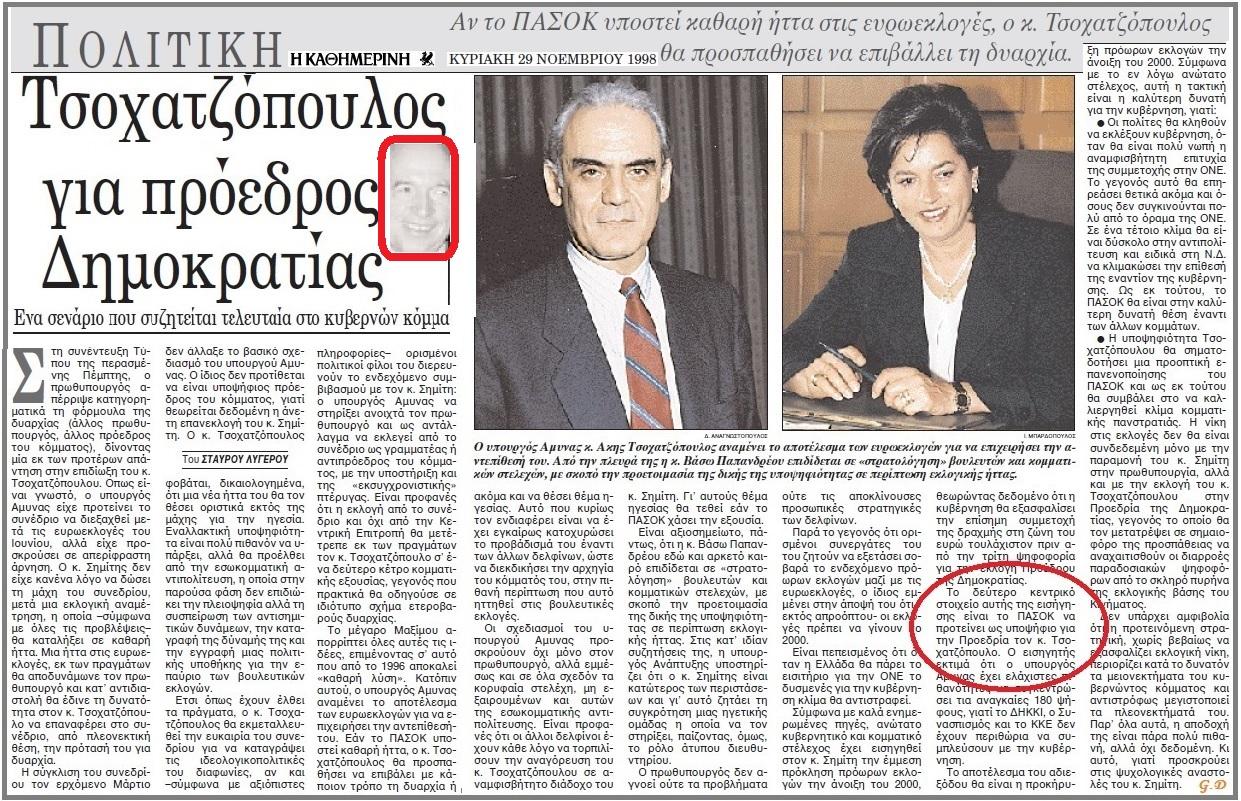 ΤΣΟΧΑΤΖΟΠΟΥΛΟΣ -ΥΠΟΨΗΦΙΟΣ ΠΡΟΕΔΡΟΣ 1998
